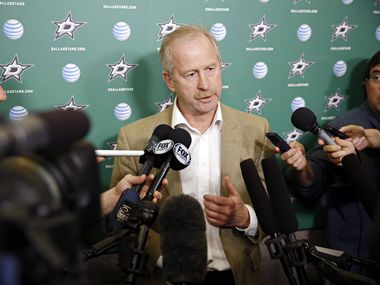 Dallas Stars general manager Jim Nill talks to media at Dr Pepper Arena Friday, May 13, 2016 in Frisco, Texas.