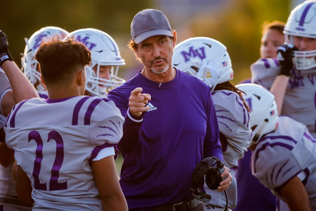 Mount Vernon high school football coach Art Briles talks to his players on the sideline during his team's season-opening game on Friday, Aug. 30, 2019, in Bonham, Texas. The away game against the Bonham Warriors is the first game at Mount Vernon for Briles, the former Baylor coach. (Smiley N. Pool/The Dallas Morning News)