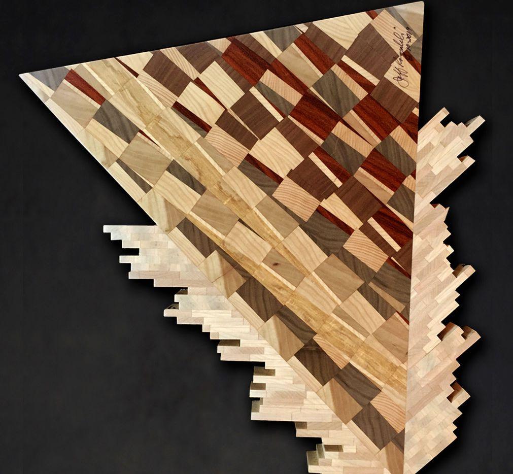 """Alien Splash"" is part of a wood art display  by Jeff Rogalski  at the Eisemann Center in Richardson."