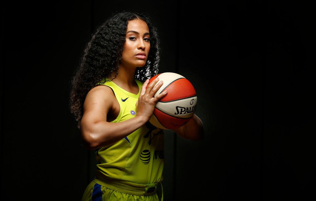 Dallas Wings basketball player and new mother Skylar Diggins-Smith poses for a photo during media day at College Park Center in Arlington, Texas, Monday, May 20, 2019. (Tom Fox/The Dallas Morning News)