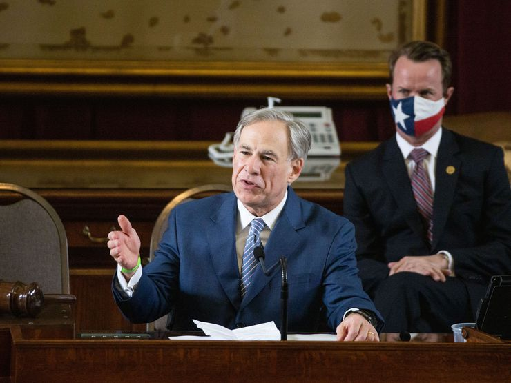 Texas Gov. Greg Abbott addresses state representatives during the House opening ceremony for the 87th Texas Legislature at the Texas Capitol building in Austin, Texas, on Tuesday, Jan. 12, 2021. (Lynda M. González/The Dallas Morning News)