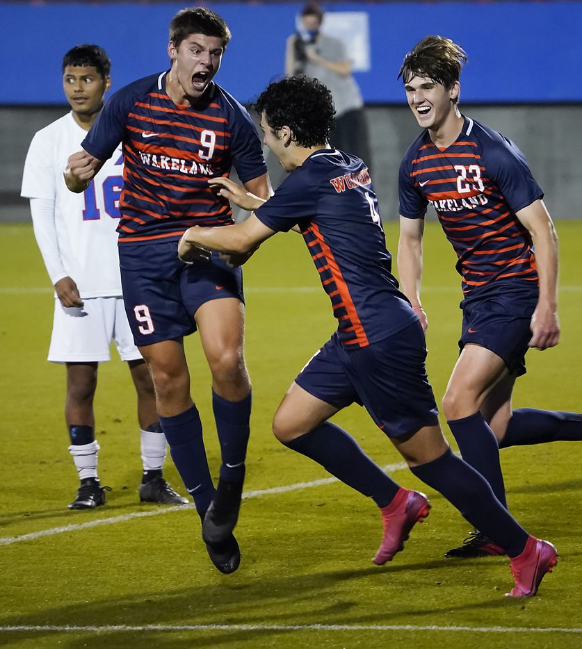 Frisco Wakeland's Charlie Meares (9) celebrates after scoring during the second half of victory over Adamson in a Class 5A boys soccer area-round playoff game at Toyota Stadium on Tuesday, March 30, 2021, in Frisco. (Smiley N. Pool/The Dallas Morning News)