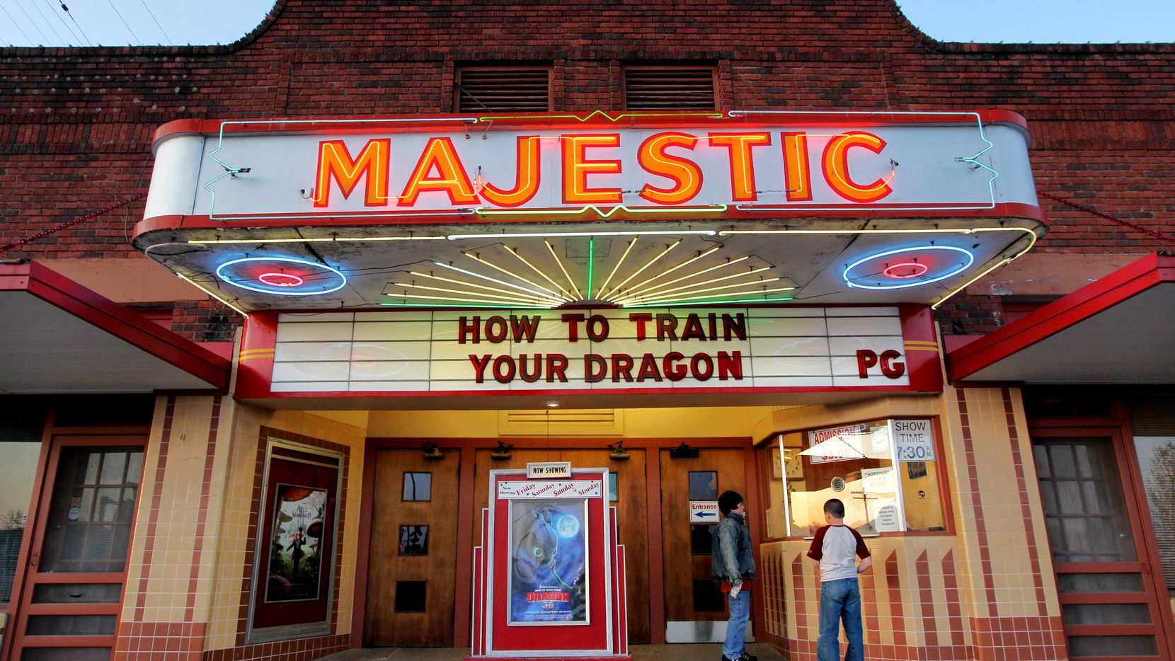 The Majestic Theatre in Wills Point, Texas, is believed to be the oldest continuously-operating, family-owned movie theater in the country.  Photographed March 27, 2010.