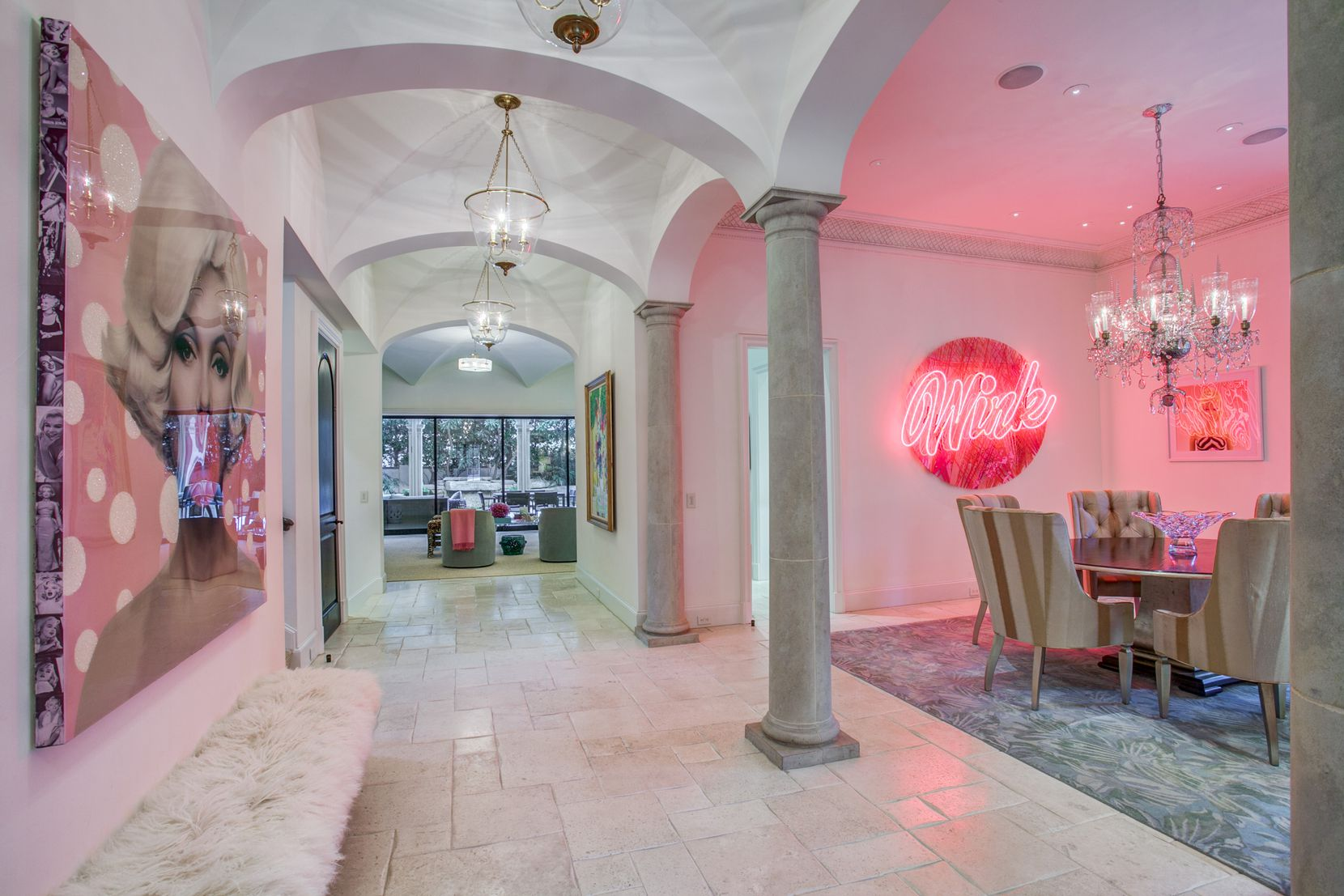 A look at a hallway of the one-time Dallas home Kameron Westcott.
