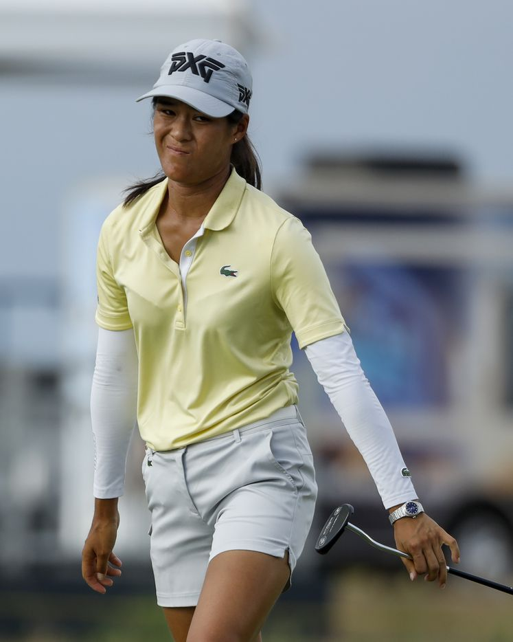 Professional golfer Celine Boutier reacts after missing a put on the 18th green during round one of the LPGA VOA Classic on Thursday, July 1, 2021, in The Colony, Texas. (Elias Valverde II/The Dallas Morning News)