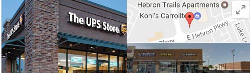 GDS doesn't want customers to know where it's situated, so it uses this UPS store as a public address on invoices -- 1001 E. Hebron Parkway in Carrollton. The company's actual address is in the 2900 block of North I-35E in Carrollton.