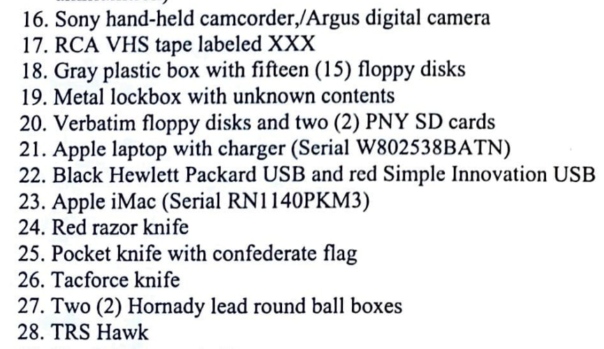 Authorities detailed some of the items they seized from David Hawkins' home.