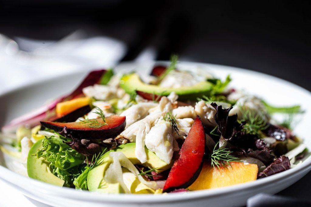 Stone fruit salad with lump crab