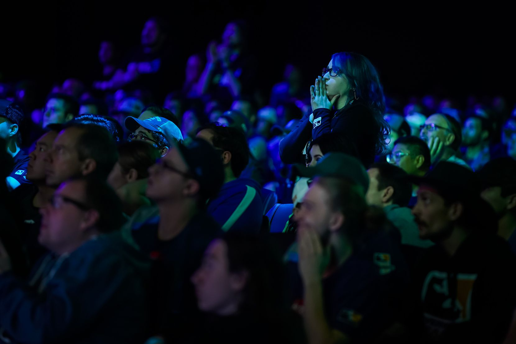Fans watch as the Dallas Fuel take on the he Los Angeles Valiant during a Overwatch League match at the Arlington Esports Stadium on Saturday, Feb. 8, 2020, in Arlington.