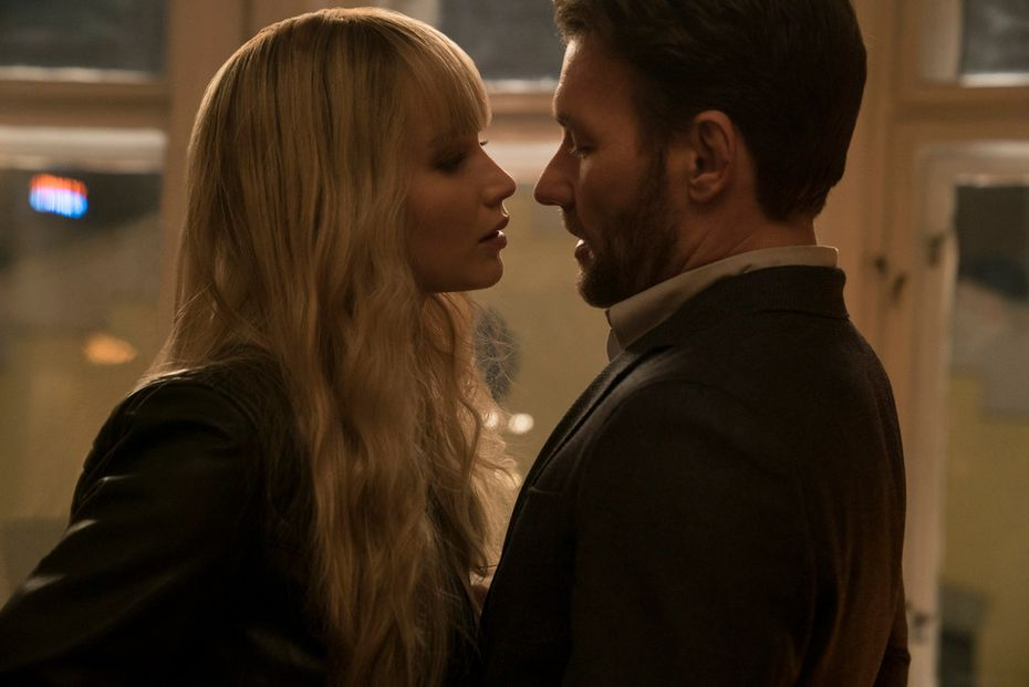 """Jennifer Lawrence, left, and Joel Edgerton in """"Red Sparrow."""""""