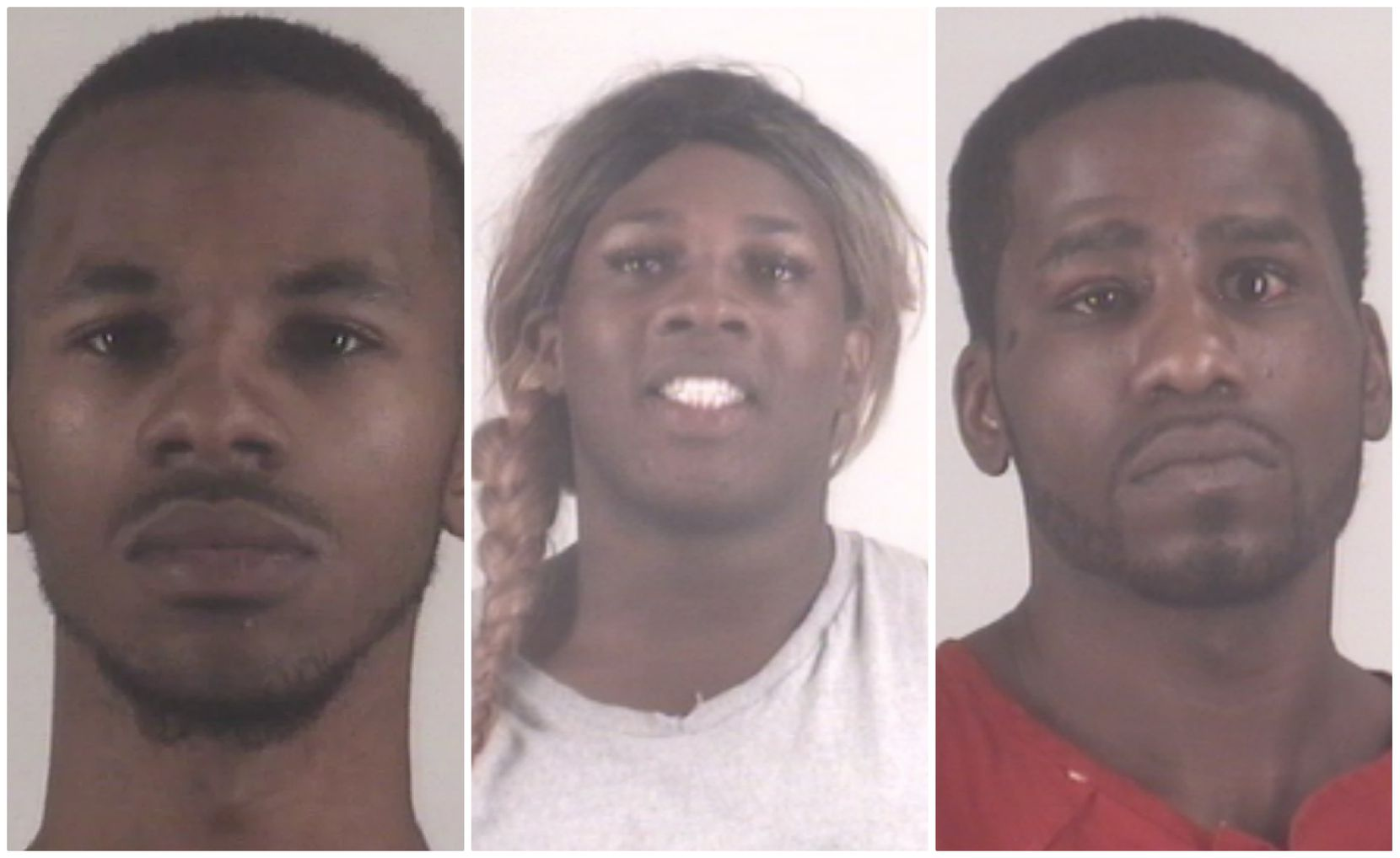 Fort Worth police say Dacion Steptoe (left) opened fire on police and was killed when they returned fire. Timothy Huff (center) and Samuel Mayfield were taken into custody and booked into the Tarrant County Jail.