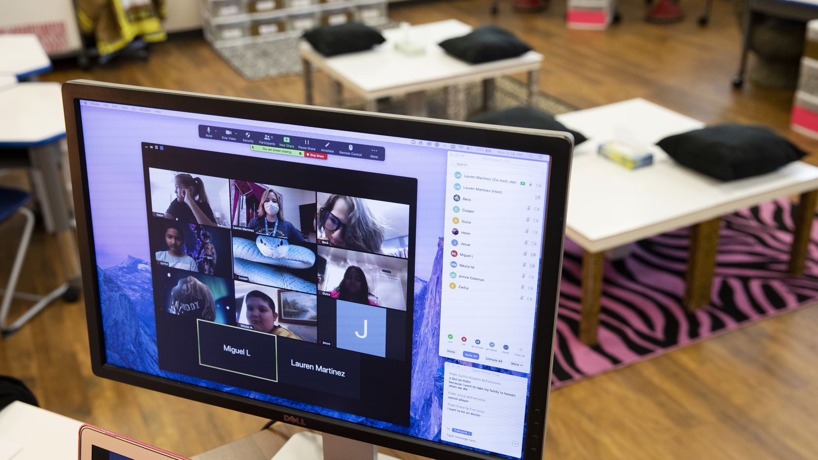 A virtual fifth-grade class at Richardson ISD's Northwood Hills Elementary is shown on Aug. 31, 2020.