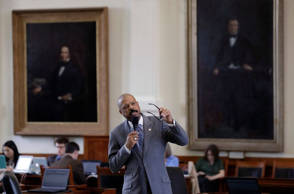 """State Sen. Borris Miles, D-Houston, speaks during debate over a """"bathroom bill"""" in the Senate Chamber, Tuesday, July 25, 2017, in Austin, Texas. The Texas Senate has revived a bill mandating transgender Texans use public restrooms corresponding to their birth-certificate genders. (AP Photo/Eric Gay)"""