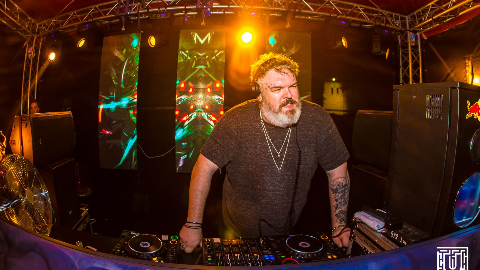 Kristian Nairn, who played Hodor in the acclaimed HBO series 'Game of Thrones,' has been a DJ for almost two decades. Pictured: Playing Untold Festival in Romania.