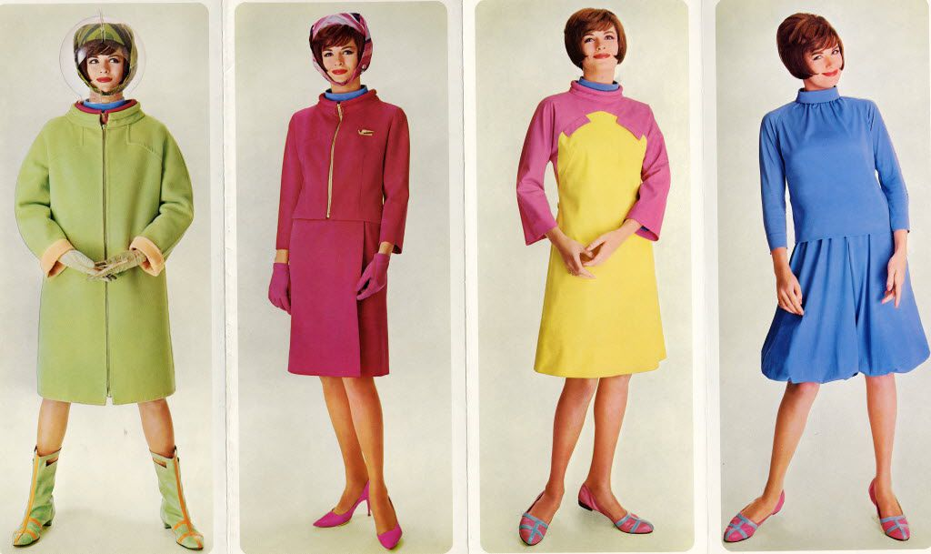 The Braniff Collection, History of Aviation Collection, Special Collections Department, Eugene McDermott Library, The University of Texas at Dallas    Braniff brochure illustrating the stages of Pucci's Air Strip uniform.