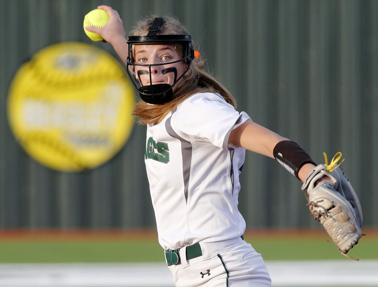 Prosper pitcher Elissa Griffin (16) throws a pitch in the first inning as Prosper High School hosted Ft. Worth Boswell High School in game two of a best of three series 6A Region I semifinal softball game in Prosper on Thursday night, May 20, 2021. (Stewart F. House/Special Contributor)