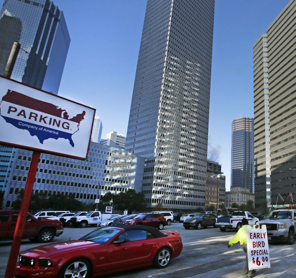 The Pacific Plaza parking lot, at the intersection of North St. Paul, Live Oak and North Harwood streets in downtown Dallas, photographed on Thursday, December 26, 2013.  (Louis DeLuca/Dallas Morning News)