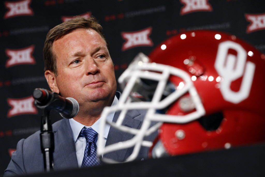 Oklahoma head football coach Bob Stoops listens to a question posed by a reporter during the Big 12 Conference Football Media Days at the Omni Dallas Hotel, July 19, 2016. (Tom Fox/The Dallas Morning News)