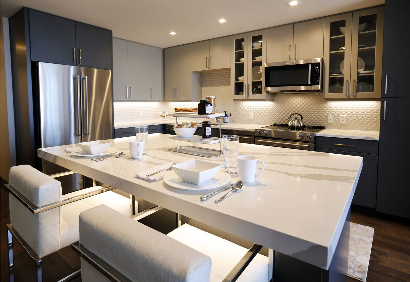 A kitchen in one of the apartments at The National.