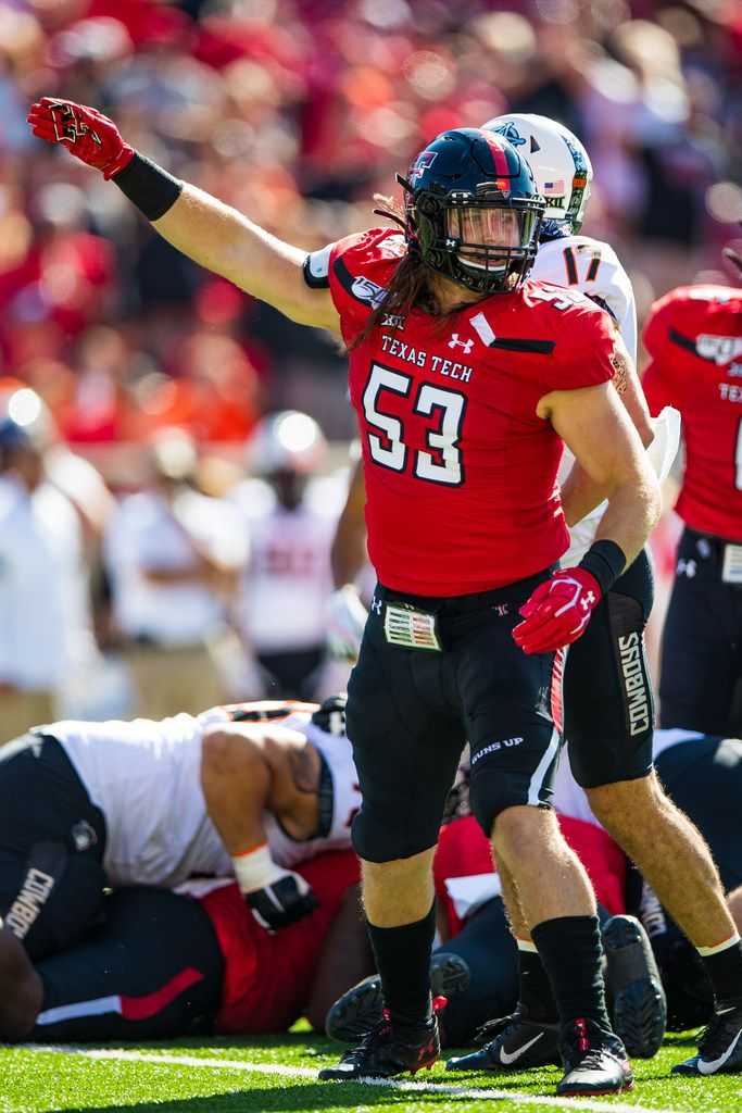 LUBBOCK, TEXAS - OCTOBER 05: Defensive end Eli Howard #53 of the Texas Tech Red Raiders signals after Texas Tech recovered a fumble during the first half of the college football game between the Texas Tech Red Raiders and the Oklahoma State Cowboys on October 05, 2019 at Jones AT&T Stadium in Lubbock, Texas. (Photo by John E. Moore III/Getty Images)