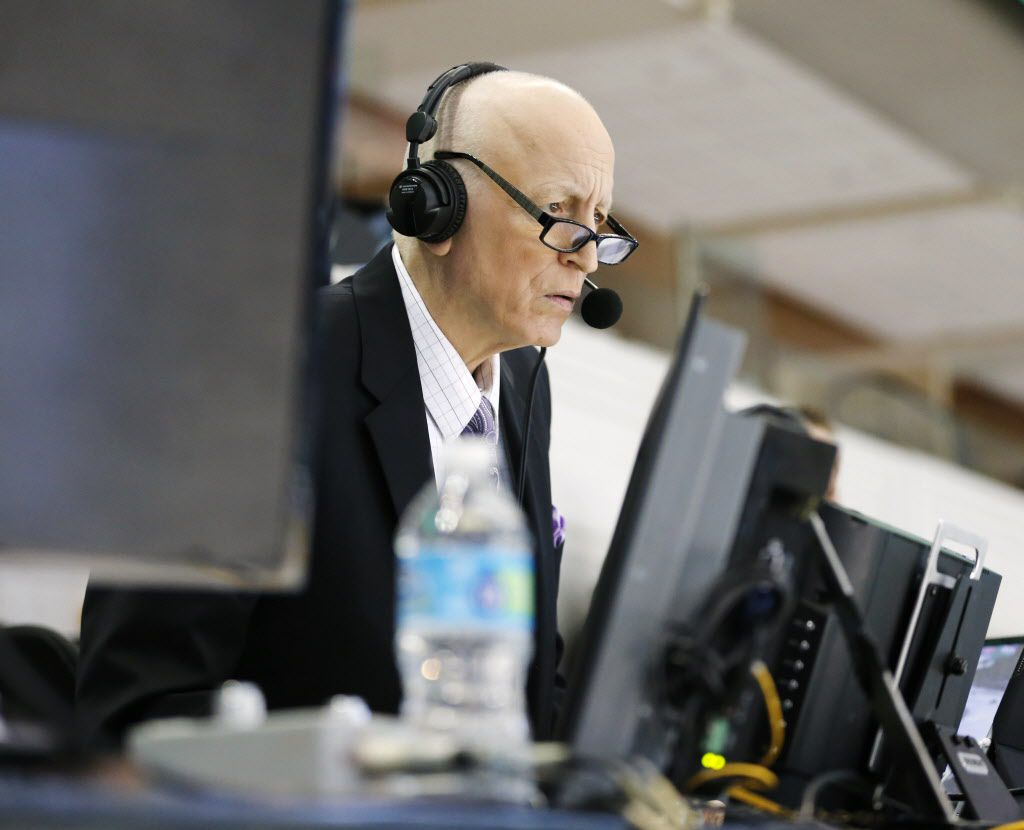 Dallas Stars play-by-play Dave Strader prepares before calling a game between the Dallas Stars and Tampa Bay Lightning at American Airlines Center in Dallas on Saturday, February 18, 2017. Strader has been battling bile duct cancer and this is his first game back since last season. (Vernon Bryant/The Dallas Morning News)