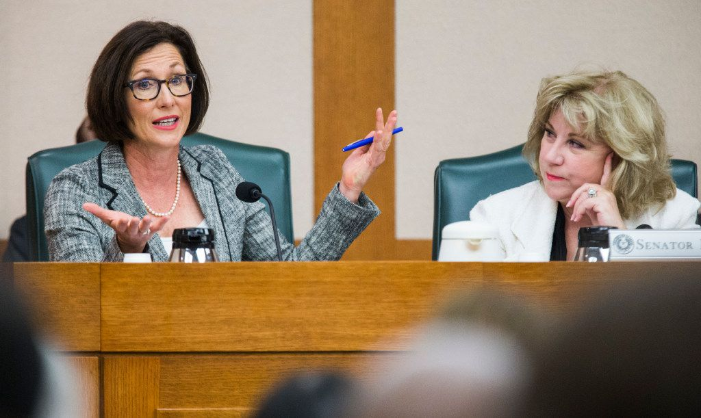 Senator Lois Kolkhorst, author of SB3, otherwise known as the bathroom bill, explains her bill to the Senate State Affairs Committee during a public hearing on the fourth day of a special legislative session on Friday, July 21, 2017 at the Texas state capitol in Austin, Texas. At right is Senator Jane Nelson. (Ashley Landis/The Dallas Morning News)