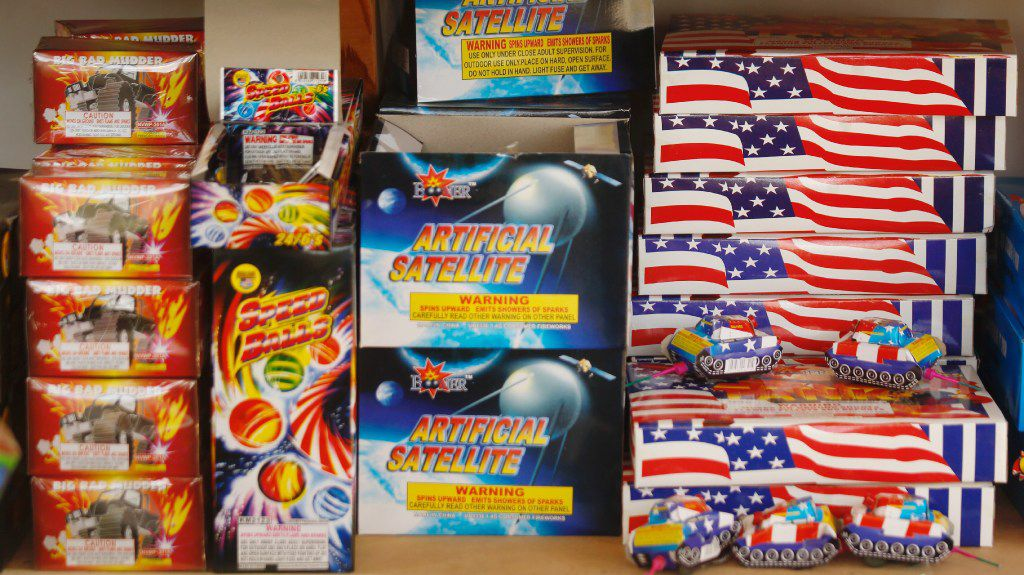 Some of the fireworks available at the Hot Spot Fireworks stand along  FM1187 near the western edge of Mansfield.