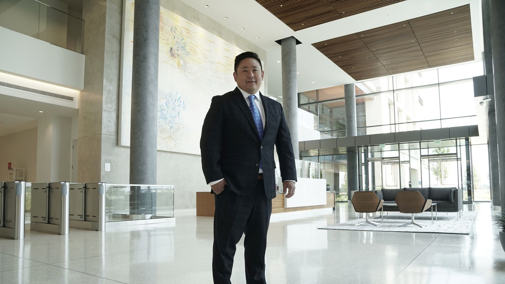 """Schwab Charitable president Sam Kang, at the corporate headquarters of Charles Schwab in Westlake, says, """"We see strong tailwinds for overall philanthropy."""""""
