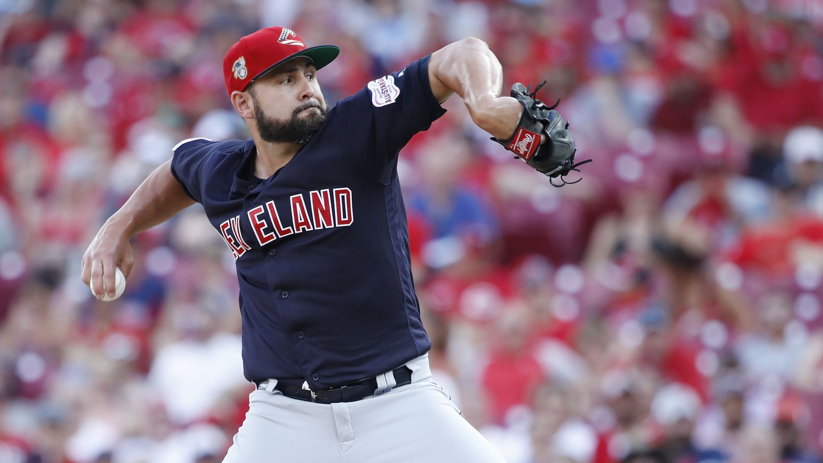 CINCINNATI, OH - JULY 06: Nick Goody #44 of the Cleveland Indians pitches in the ninth inning against the Cincinnati Reds at Great American Ball Park on July 6, 2019 in Cincinnati, Ohio. The Indians won 7-2. (Photo by Joe Robbins/Getty Images)
