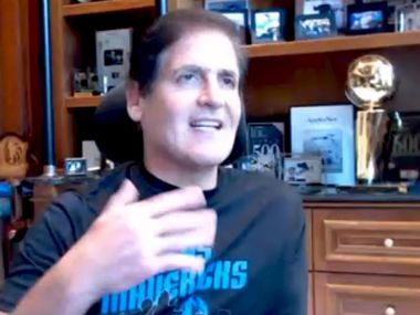 Dallas Mavericks owner Mark Cuban speaks to the Dallas City Council via video conference on Thursday, Apr. 30, 2020. He was a guest speaker at the council's Ad Hoc Committee on COVID-19. He spoke about reopening the country from a small business standpoint as well as bringing sports back to fans. (Screenshot from video conference)