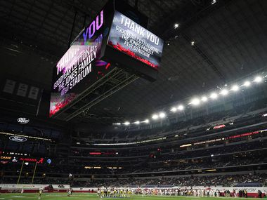 A message thanks the Cotton Bowl and the Jones family for hosting the Rose Bowl NCAA college football playoff semifinal during the second half between Alabama and Notre Dame  AT&T Stadium on Friday, Jan. 1, 2021, in Arlington.