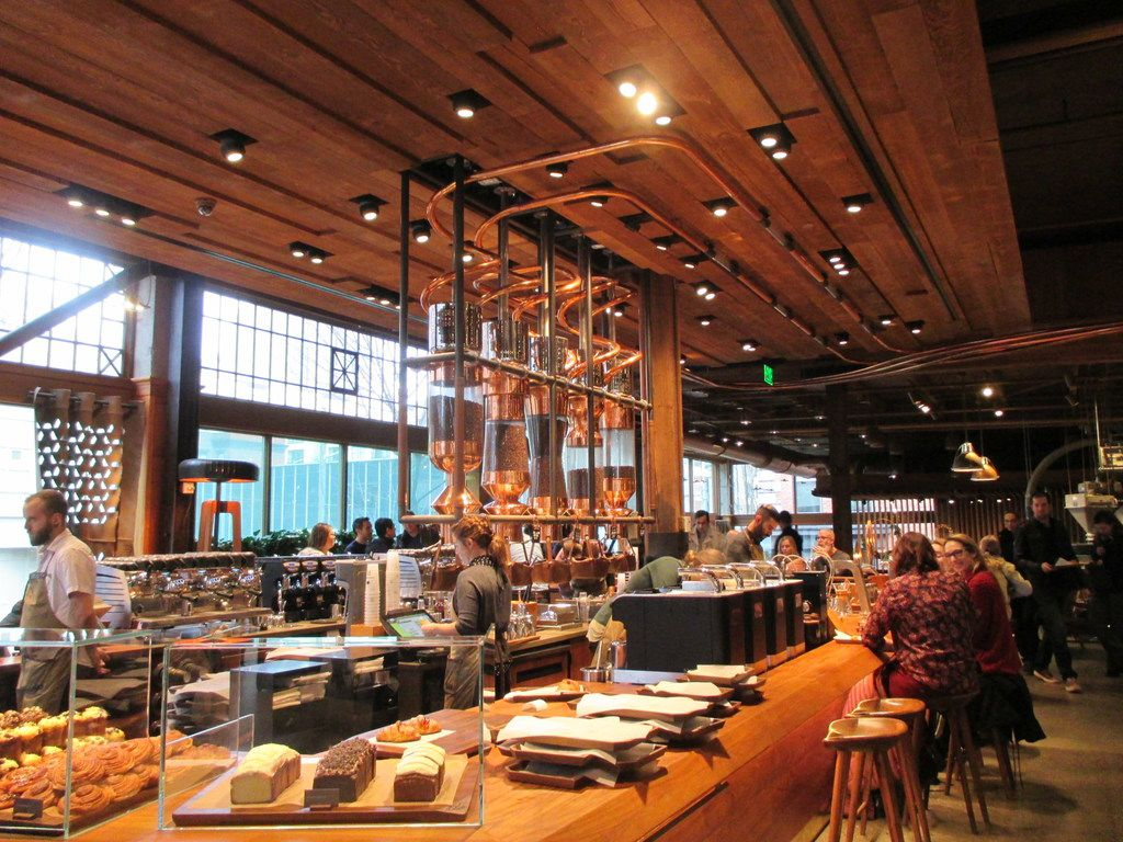 In addition to all kinds of specialty coffees, Starbucks Reserve Roastery in Seattle serves hand-crafted eats.