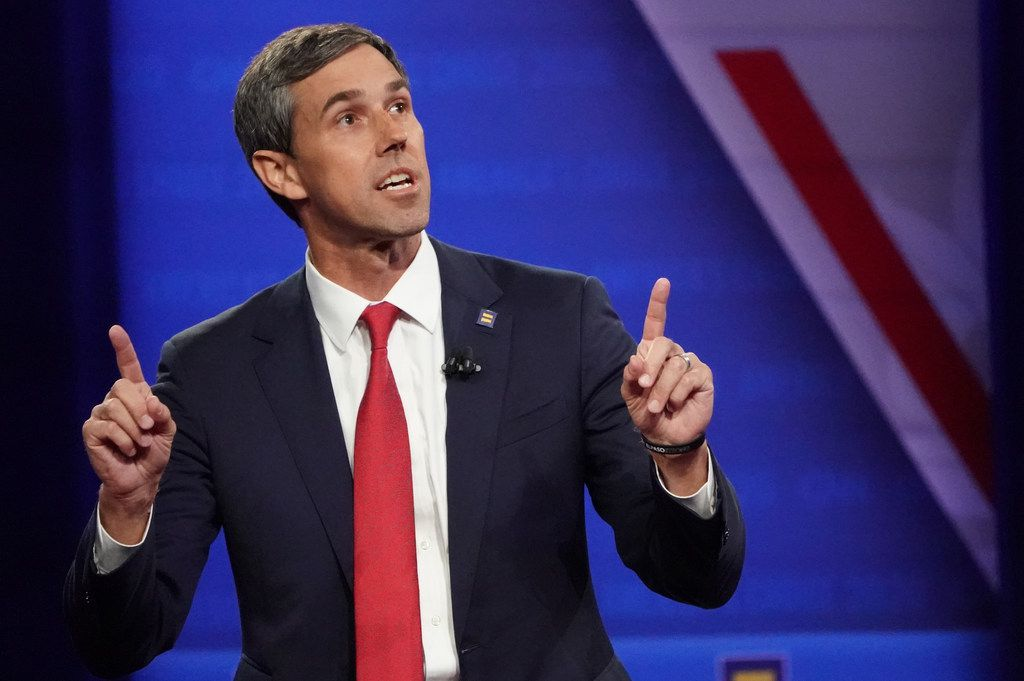 Democratic presidential candidate and former U.S. Rep. Beto O'Rourke speaks at the Human Rights Campaign Foundation and CNN presidential town hall focused on LGBTQ issues on Oct. 10, 2019 in Los Angeles