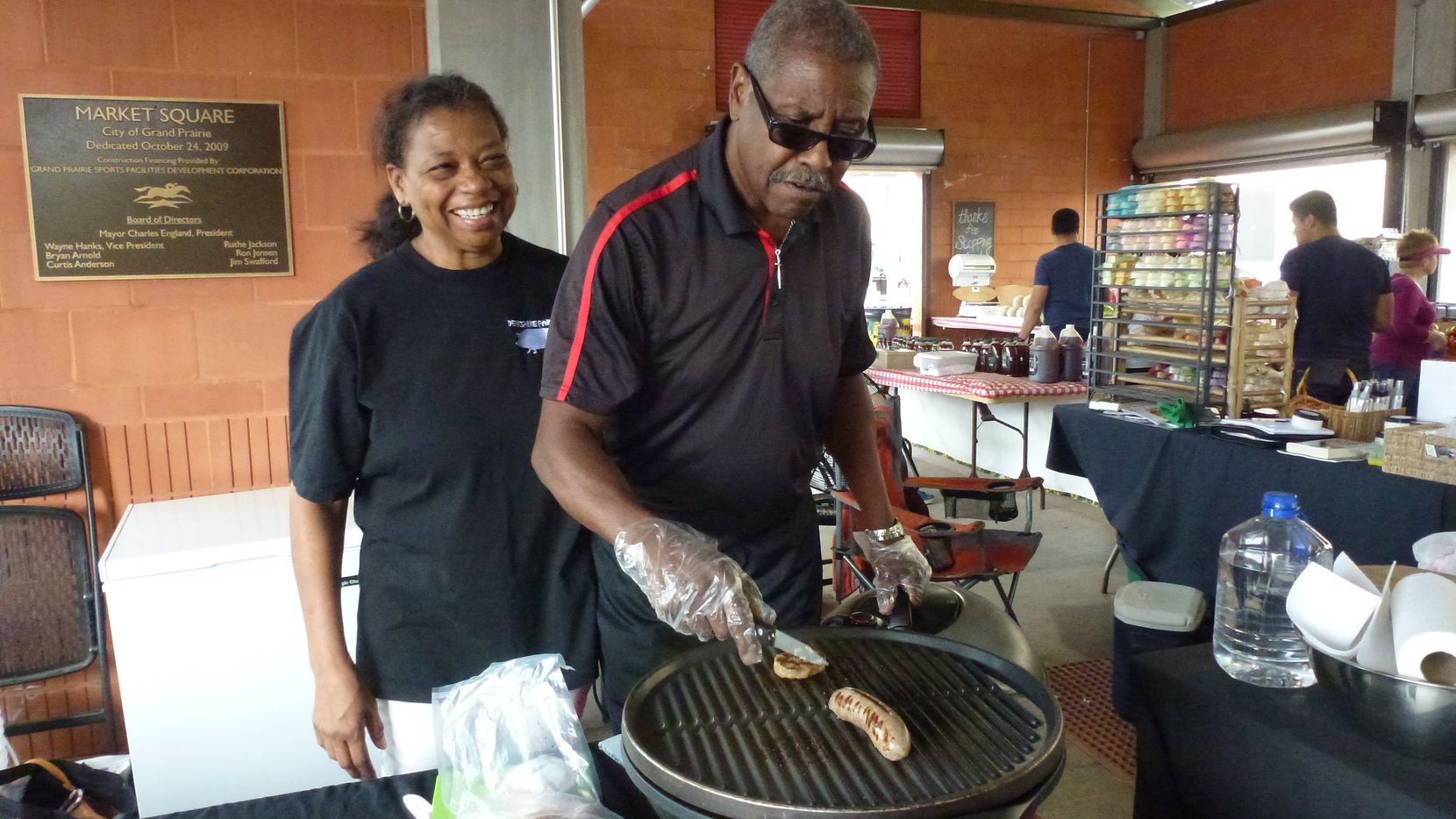Sharon and Larry Jackson sell a juicy, fresh-tasting sausage from a family recipe made with son Jason's pastured pork from Berkshire Pork Farms in Wilmer. The artisan pork producer also sells at Dallas, Farmers Branch and St. Michael's farmers markets.