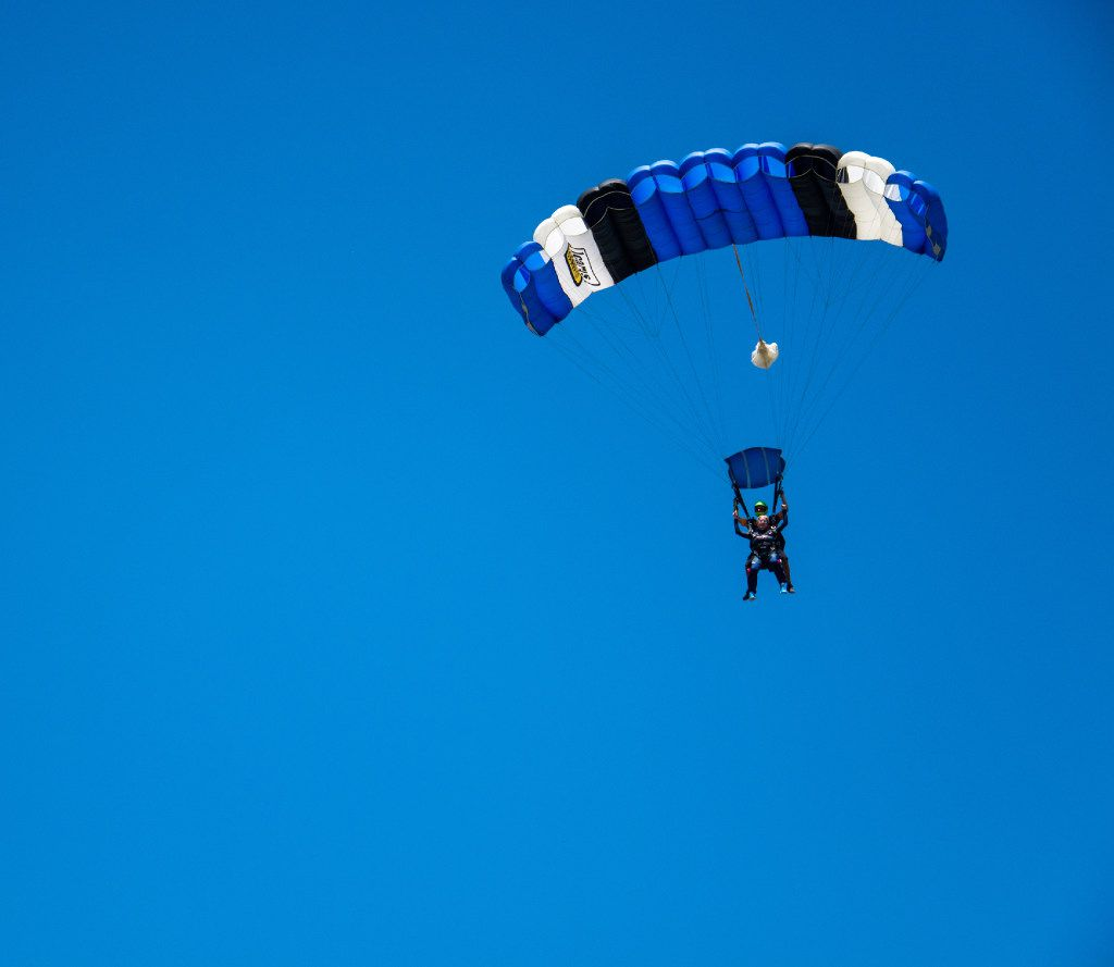 Lisa Shirley parachutes to raise funds for veterans and first responders.