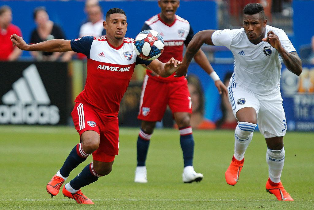 FC Dallas midfielder Bryan Acosta (8) competes for control of the ball with San Jose Earthquakes defender Harold Cummings (31) during the first half as FC Dallas hosted the San Jose Earthquakes at Toyota Stadium in Frisco on Saturday , April 27, 2019.  (Stewart F. House/Special Contributor)