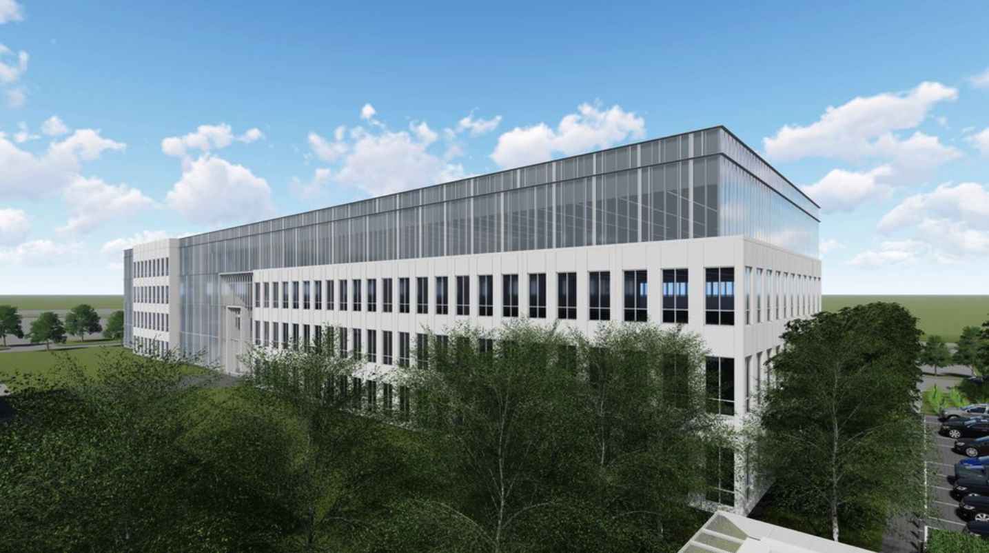 The 180,000-square-foot office building, shown in a rendering, is the first of up to five planned on the site.