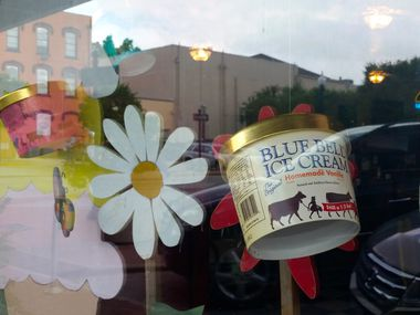 In Brenham, support for Blue Bell is reflected in storefronts community-wide.