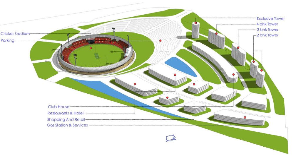 A rendering of a cricket complex.