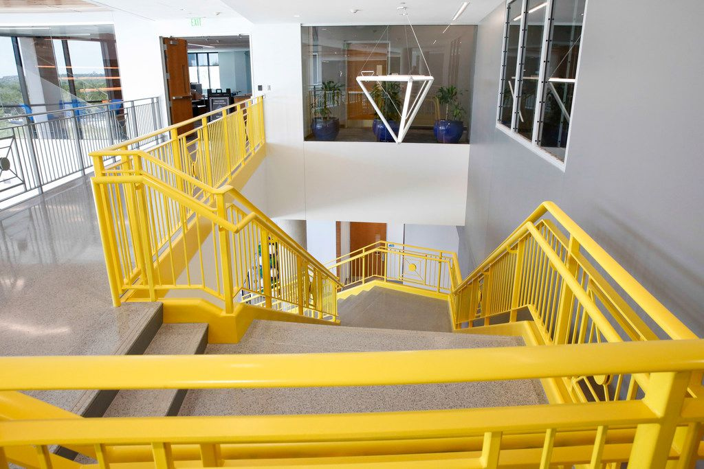 The lobby stairwell of the new Student Center building opened on the campus of UNT Dallas Monday, August 26,  2019. (Brian Elledge/Staff Photographer)