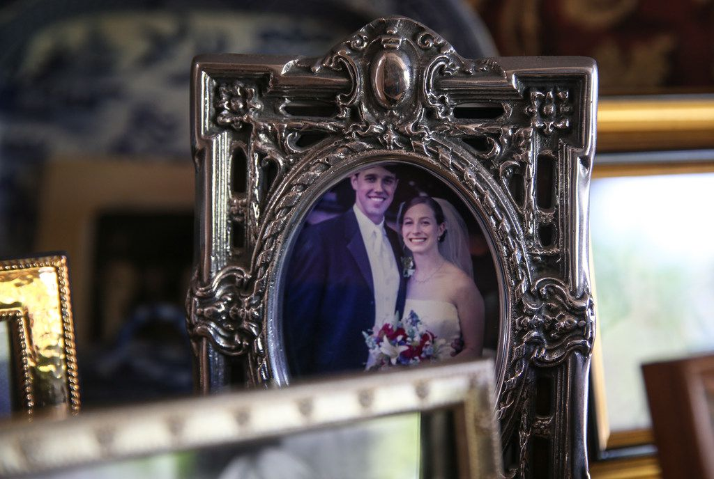 A wedding photo of Beto O'Rourke and his wife, Amy Hoover Sanders, is seen in the home of Melissa O'Rourke, his mother.