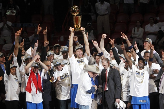 Dirk Nowitzki and the Dallas Mavericks celebrate their first NBA championship on June 12, 2011, in AmericanAirlines Arena in Miami. Nowitzki was named Finals MVP.