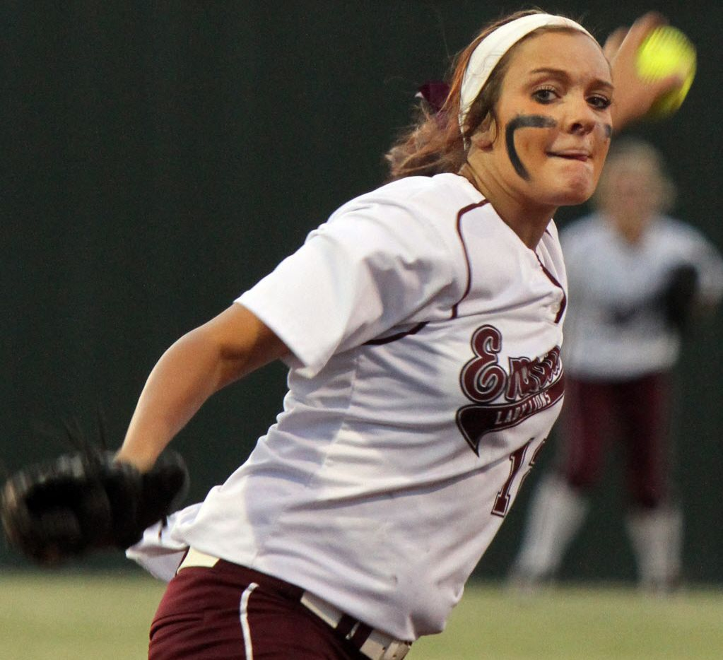 Ennis senior pitcher Taylor Maliska (12) delivers a pitch to a Mesquite Poteet batter during second inning play. The two teams played Game 1 of a best-of-3 Class 4A Region 2 semifinal playoff series at Red Oak High School in Red Oak on May 15, 2014.