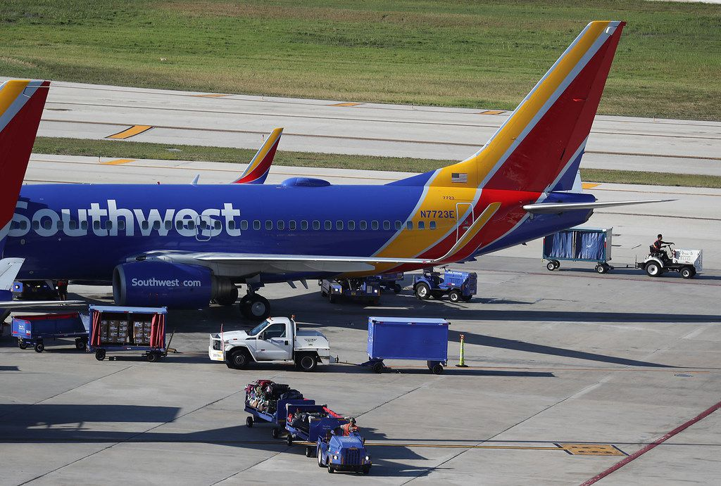 Southwest airline planes sat on the tarmac at Fort Lauderdale - Hollywood International Airport on February 20, 2019, in Fort Lauderdale, Florida.