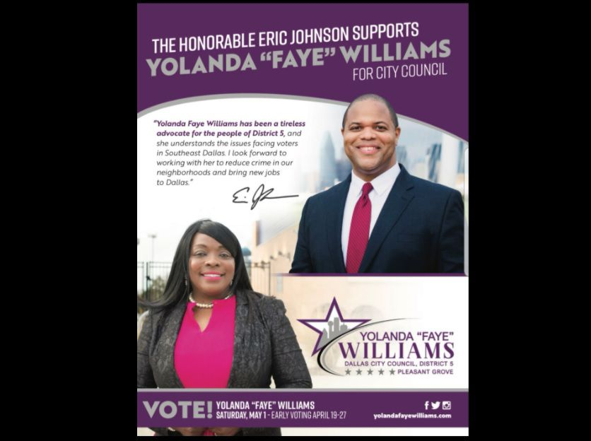 A screenshot of a flyer released by Dallas City Council District 5 candidate Yolanda Faye Williams on April 15, 2021 shows an endorsement from Mayor Eric Johnson.
