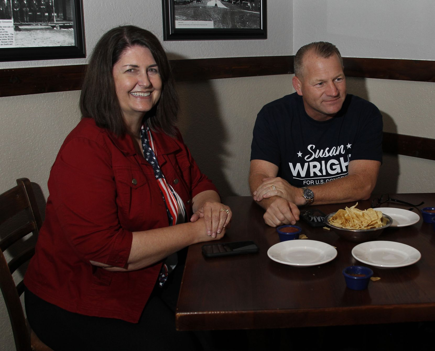 Susan Wright, candidate for Congress Distrct 6, visits with Congressman Troy Nehls (22nd District) during her election night party. Susan Wright's election night party was held at El Primos in Mansfield on May 1, 2021. (Steve Hamm/ Special Contributor)