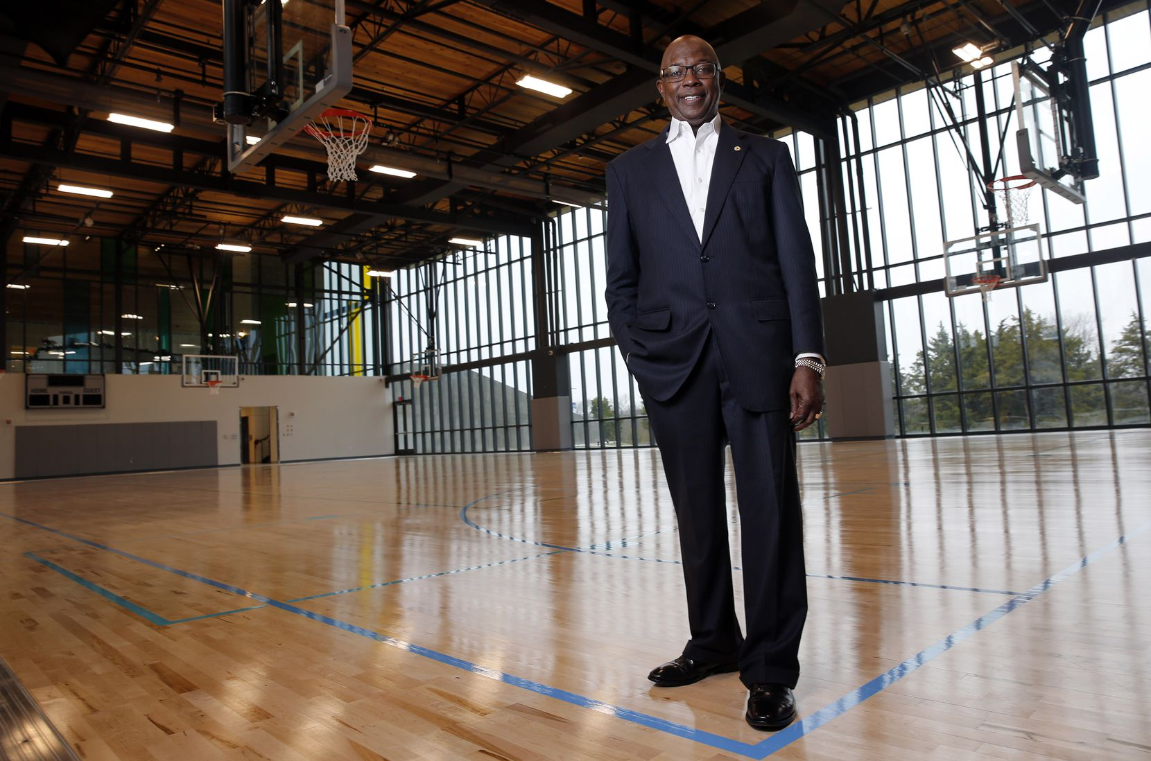 Dallas City Council member Tennell Atkins is shown in the Singing Hills gym.