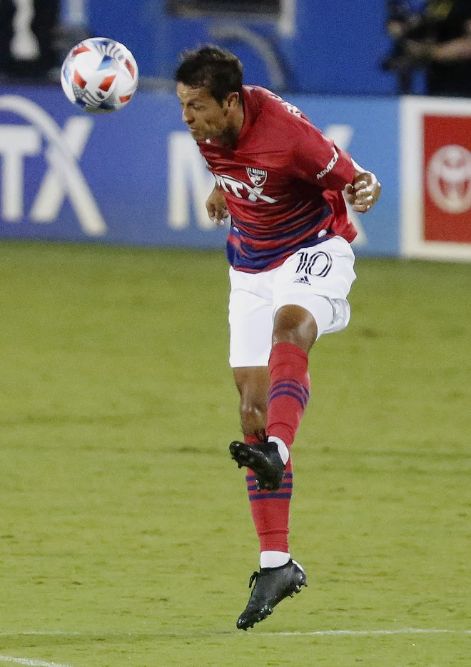 FC Dallas midfielder Andres Ricaurte (10) heads the soccer ball during the second half as FC Dallas hosted the Seattle Sounders at Toyota Stadium in Frisco on Wednesday night, August 18, 2021. (Stewart F. House/Special Contributor)