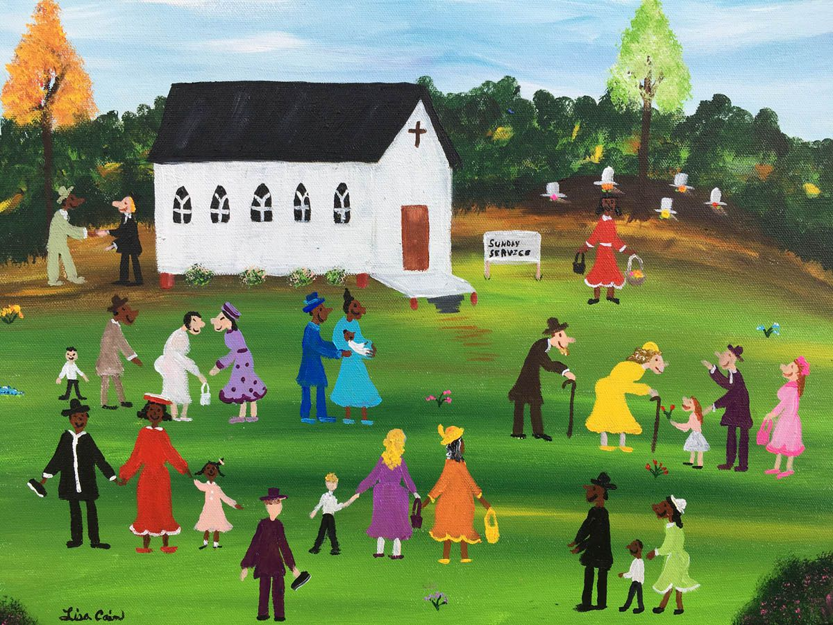 "This illustration titled ""Brothers and Sisters"" was created by artist Dr. Lisa D. Cain. Cain is a self-taught African-American folk artist in League City, Texas. She said her art expresses the joy that she felt while growing up in Canton, Miss., telling the story and culture of individuals who surrounded her as a child. Cain's art has been exhibited by galleries and shown across the U.S. in hopes that her art will remind society of times that were simple but framed with values such as unity and love. Cain is also a neuroscientist and an associate dean at the University of Texas Health Science Center at Houston."