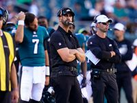 Philadelphia Eagles head coach Nick Sirianni watches play during the second half of an NFL football game against the San Francisco 49ers on Sunday, Sept. 19, 2021, in Philadelphia.